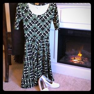 LuLaRoe XXS dress army greens and white print.